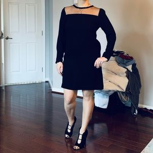 DVF black dress with sheer top